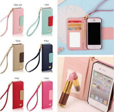Fashion PU Leather Flip Cases Covers For Cell Phone iPhone Wallet Card Holder He
