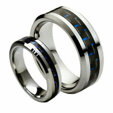 His& Hers 8MM/6MM Tungsten Carbide Blue/Black Carbon Fiber Wedding Band Ring set