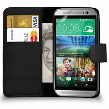 Premium Leather Side Wallet Flip Case Cover For HTC Phone With Screen Protector