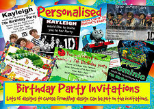 12 PERSONALISED BIRTHDAY PARTY INVITATIONS PLUS ENVELOPES. MIXED DESIGN'S
