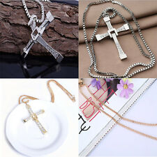 Fashion Pendant Unisex's Men Stainless Steel Cross Necklace Chain Silver/Gold