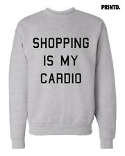 Shopping is My Cardio - Crewneck Pullover Sweatshirt - Unisex - White / Grey