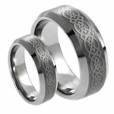 His & Her's 8MM/6MM Tungsten Carbide Celtic Knot Design Wedding Band Ring set