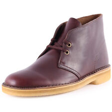 Clarks Originals Desert Boot Mens Leather Wine Boots New Shoes All Sizes