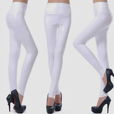 Fashion Faux LEATHER STRETCH TIGHTS PANTS High Waist Exceptional Quality WHITE