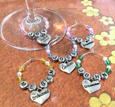 WINE GLASS CHARM- WEDDING, BEACH WEDDING, PERSONALISED, BRIDE, GROOM, BRIDESMAID