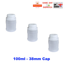 PLASTIC BOTTLES HDPE WHITE SCREW CAP WIDE NECK 38mm FAST SHIPP Resin Latex