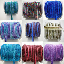 "5yards Hot Sparkle Glitter Velvet Ribbon Headband Clips Bow Decoration 3/8 ""10mm"