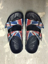 Birki's by Birkenstock Haiti Men Sandals British Flag Union Jack Blue NIB