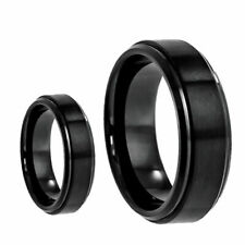His & Her's 8MM/6MM Tungsten Carbide Black Step Edge Wedding Band Ring set