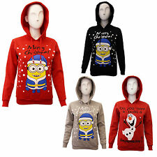 Kids Unisex Girls Boys Olaf Frozen Minion Christmas Xmas Hoodie Festive Novelty