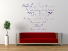 Marilyn Monroe Selfish Quote, Vinyl Wall Art Sticker, Decal, Mural. Film, Movie