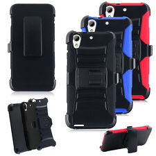 Hybrid Armor Holster Belt Clip Hard Case Cover Stand For HTC Desire 626 626S
