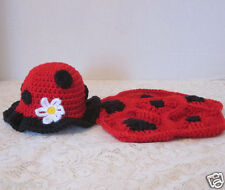 Lady bug hat and back cover- handmade crochet photography prop Newborn-3 mos