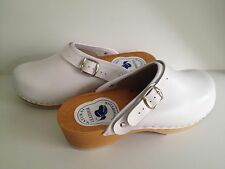 Women Wooden Leather White Clogs Slip Resistant With Buckle