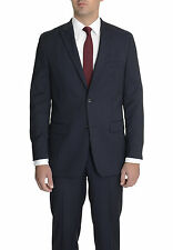 Alfani RED Slim Fit Navy Blue Striped Stretch Wool Suit With Peak Lapels