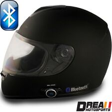 VCAN V136B BLUETOOTH FLAT MATTE BLACK FULL FACE MOTORCYCLE HELMET DOT XS - XL
