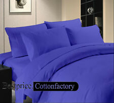 HIgh Quality Cotton 800-1000-1200TC Egyptian Blue Solid Duvet Fitted & Sheet Set