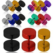 Set Stainless Steel Fake Cheater Plugs Ear Stretcher Expander Tunnel Piercing