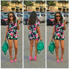 Women Sexy Clubwear Floral Playsuit Bodycon Party Jumpsuit&Romper Trousers New
