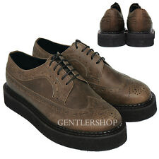 Mens Handmade Brown Leather Blown Rubber Sole Creeper Shoes 1008, GENTLERSHOP