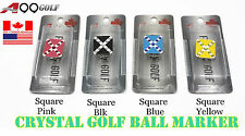 2pcs Golf Crystal Ball Marker Magnetic Hat Clip Square Pink, Blk, Blue or Yellow