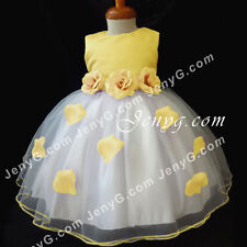 #HM41 Flower Girls/Christening/Pageant/Formal Gowns Dresses, Yellow 0-24 Months