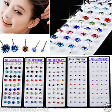 40pcs Silver Mixed Color CZ Crystal Earring Stud &box Wholesale