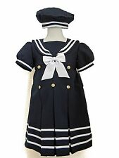 Baby Girl/ Toddler Formal Navy Blue Sailor Dress/Outfit/Costume 2T, 3T, 4T
