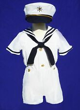 Baby Boy/ Toddler Formal Sailor Suit/Outfit/Costume- All White- 2T, 3T, 4T