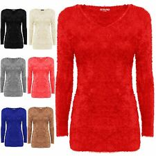 Nouvelle robe mesdames stretch col V Pull Confortable Moelleux Doux Fourrure Hiver Mohair 8-16