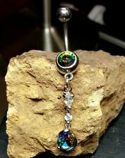 Belly Button Naval Ring Dangle Jewelry Piercing 14g Curved Bar Rainbow Tear