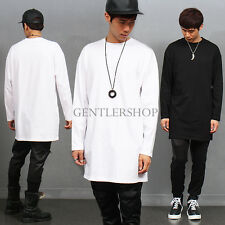 Mens Fashion Over Long Loose Fit Long Sleeve T shirt Black/White, GENTLERSHOP