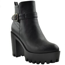 Womens Chunky Ankle Boots Lug Sole Shoes Buckles zipper closure Black Booties