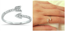 Sterling Silver 925 PRETTY ARROW CUPID DESIGN CLEAR CZ RING 8MM SIZES 4-10