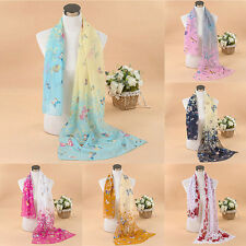 Lady Chiffon Print Silk Long Soft Neck Scarf Shawl Scarves Wraps Multi-style H33