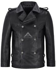 GERMAN NAVAL JACKET 8971 Men's BLACK ANILINE Cowhide Leather SUBMARINE Coat