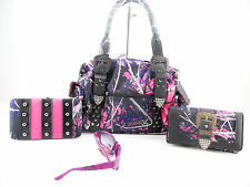 MUDDY GIRL PURPLE PINK CAMO BUCKLE LEFT RIGHT CONCEALED CARRY GUN PURSE + WALLET