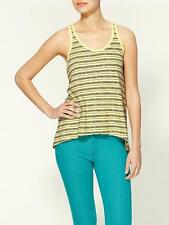 Wilt Yellow & Black Stripe Slub Racer Cutout Back Hi Lo Tank New Anthropologie
