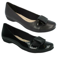 LADIES CLARKS SLIP ON LEATHER BOW DETAIL BALLERINAS FLAT SHOES DISCOVERY DIME