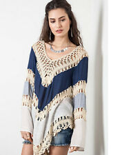 Z Womens Knit Crochet Mix Bohemian Hippie Long Tunic Top Hollow Out Candy  Beach