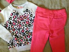 nwt $58 JUICY COUTURE pink jeggings animal print tunic top set 3/6 outfit girls