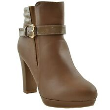 Womens Booties High Heels Patent Leather Buckle Zipper Closure Taupe Ankle Boots