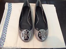 100% Authentic Tory Burch Reva Flats in Black/Pewter New in Box