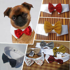Adjustable Small Dog Puppy Cat Kitten Pet Bow Tie Cotton Collar 4 Colors
