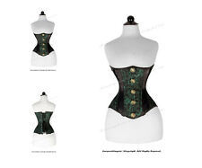 24 Full Double Steel Boned Zip Heavy Lacing Brocade Underbust Corset #8578-BRO