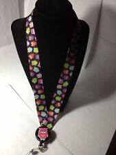 Ribbon Lanyard with Retractable ID Badge Holder - Cute Owls