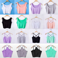 Women Summer Sleeveless Shirt Tank Tops Cami T-Shirt Vest Crop Top Blouse New