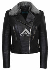 Ladies 6108 Casual Black Biker Style Designer Real Italian Leather Fur Jacket