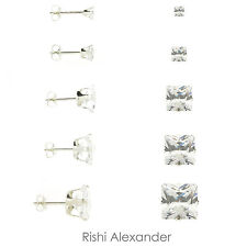 925 Sterling Silver Princess Cut Square Clear CZ Stud Earrings Butterfly Posts